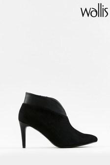 Wallis Curve Black V Throat Low Heel Shoe Boots
