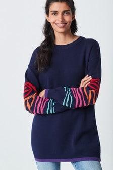 Fun Multi Colour Animal Sleeve Jumper