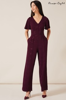 Phase Eight Purple Josie Jacquard Jumpsuit