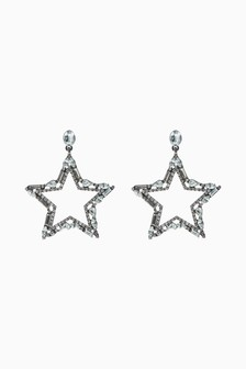 Star Motif Stud Drop Sparkle Earrings