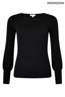Monsoon Black Square Neck Jumper
