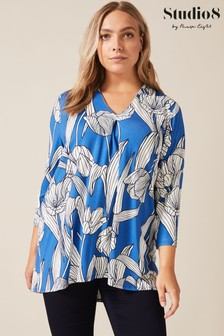 Studio 8 Blue Madison Printed Top