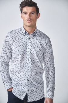 Floral Print Double Collar Slim Fit Shirt