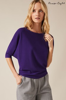 Phase Eight Purple Cristine Batwing Knitted Top