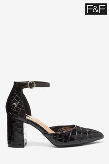 F&F Black Croc Part Shoes
