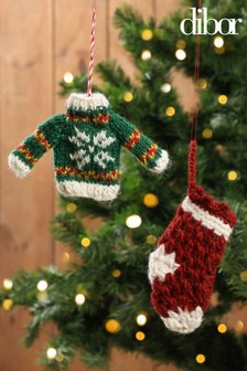 Hand Knitted Christmas Tree Decorations by Dibor