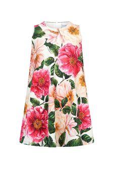 Dolce & Gabbana Kids Girls Pink Cotton Dress