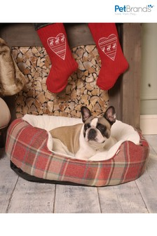 Washable Tartan Check Large Oval Pet Bed by Pet Brands