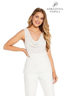 Adrianna Papell White Beaded Cowl Shell Top