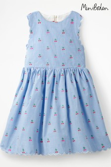 Boden Blue Scallop Edge Vintage Dress