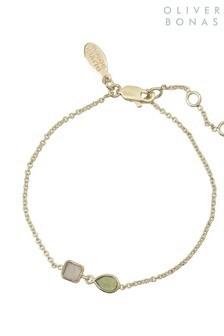 Oliver Bonas Gold Plated Selma Square & Teardrop Chain Bracelet