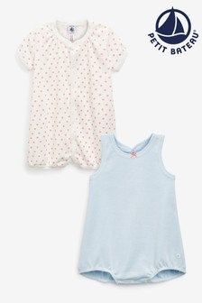 Petit Bateau Pink/White Rompers Two Pack