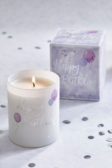 White Jasmine Happy Birthday Candle
