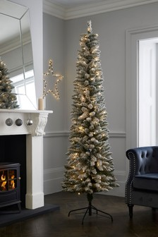 7ft Slim Snowy Lit 7ft Slim Snowy Lit Christmas Tree