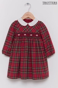 Trotters London Red Charlotte Smocked Tartan Dress