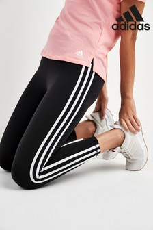 adidas Black 3 Stripe 7/8 Leggings
