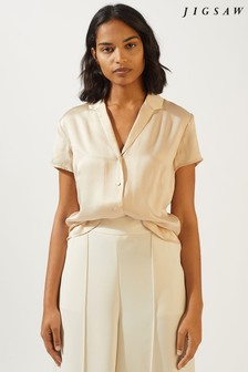 Jigsaw Peach Silk Satin Shirt