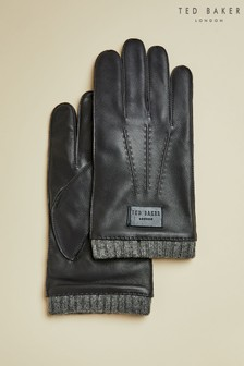Ted Baker Blue Blokey Ribbed Cuff Leather Gloves