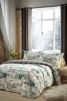 Snow Scene Tartan Reverse Duvet Cover and Pillowcase Set by Fusion