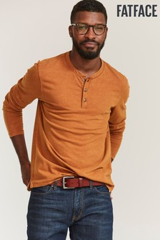 FatFace Brown Woodside Slub Henley T-Shirt