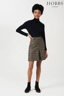 Hobbs Camel Multi Genevieve Wool Skirt