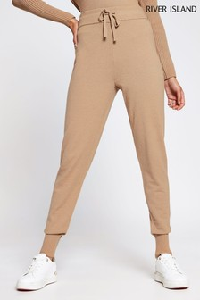 River Island Brown Slim Knitted Joggers