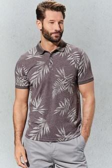 Рубашка поло с принтом листьев