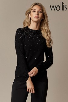 Wallis Petite Scatter Stud High Neck Jumper