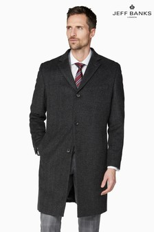Jeff Banks Grey Textured Herringbone Men's Coat