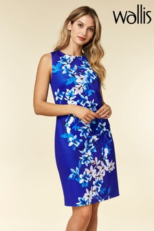 Wallis Blue Magnolia Print Scuba Shift Dress
