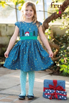 Frugi Organic Christmas Dress With Tie Waistband