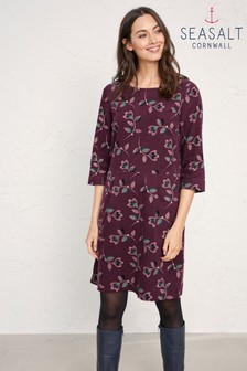 Seasalt Purple High Key Dress Tulip Stem Merlot