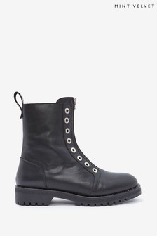 Mint Velvet Avery Black Biker Ankle Boots