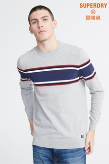 Superdry Grey Stripe Crew Jumper