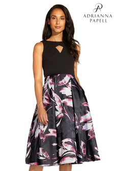Adrianna Papell Black Crepe Jacquard Dress