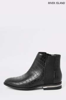 River Island Black Scamp Heel Detail Chain Ankle Boots