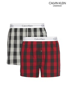 Calvin Klein Red Modern Cotton Buffalo Check Boxers Two Pack