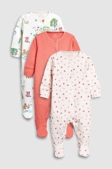 農場動物連身睡衣三件裝 (0個月至2歲)