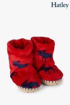 Hatley Red Moose Fleece Slippers