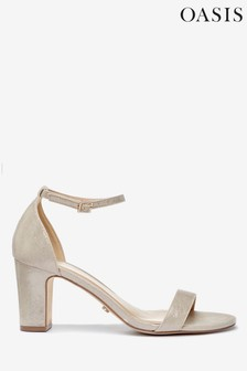 Oasis Gold Bridesmaid Two Part Block Heel Sandals