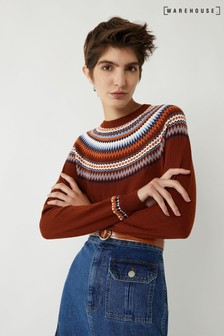 Warehouse Brown Fairisle Jumper
