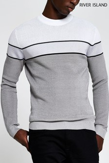 River Island Grey Light Waffle Blocked Jumper