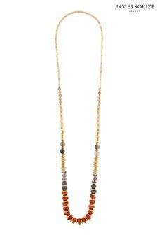 Accessorize Orange Ceramic Bead Long Rope Necklace