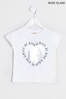 River Island White L'Amour Tulip Sleeve T-Shirt