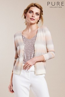 Pure Collection Pink Cashmere V-Neck Cardigan
