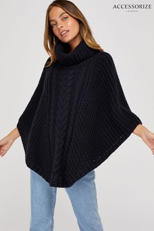 Accessorize Blue Chunky Cable Poncho