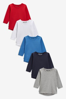 מארז חמש חולצות טי עם שרוולים ארוכים (3 חודשים-7 שנים)