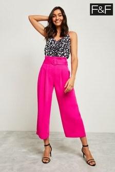 F&F Pink Culotte Self Belt Trouser