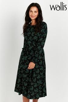 Wallis Green Floral Print Midi Dress