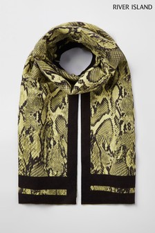 River Island Yellow Snake Midweight Scarf